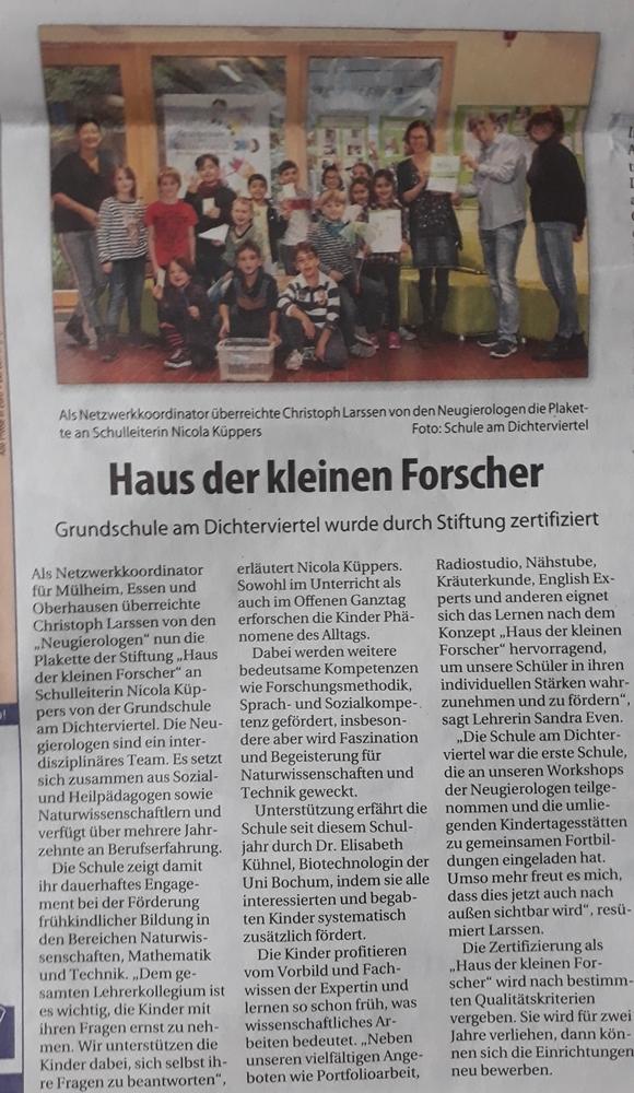 Der erste Grundschule (in Mülheim) wurde zertifiziert!